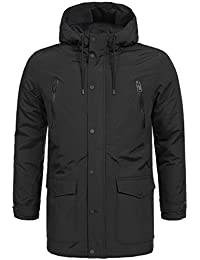 Brave Soul Men's Parka Plain Round Collar Long Sleeve Jacket