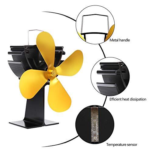 Silent Heat Ventilador de horno con calefacción y 4 aspas ajustables para...