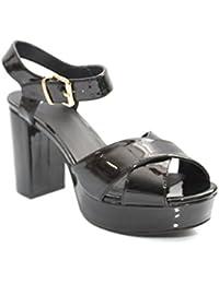 Pour 70de style brevet Talons hauts à talon bloc opentoe Chaussures Taille 3–8