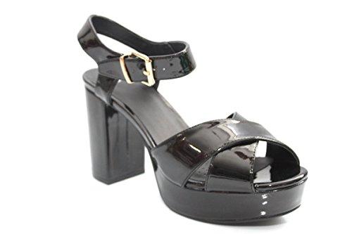 Pour 70de style brevet Talons hauts à talon bloc opentoe Chaussures Taille 3–8 Noir - noir