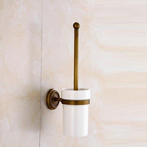 AZHUCHANGJIANG Retro Kupfer Toilettenbürstengarnitur Continental Wand-Bad Reinigungsbürste mit hängenden WC-Bürste und Dicht WC Schüssel Pinsel Haushalt Hotels WC-Bürstenhalter WC-Zubehör