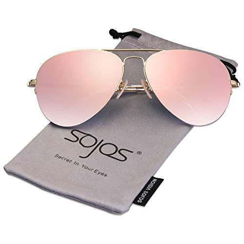 SOJOS Herren Damen Sonnenbrille Zwei Brücken Klassisch SJ1106 mit Gold Rahmen/Rosa verspiegelte Linse