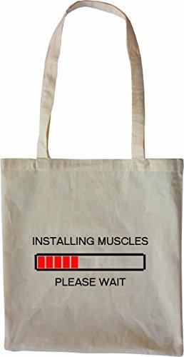 Mister Merchandise Tasche Installing Muscels - Please Wait Fitness Bodybuilding Nerd Stofftasche , Farbe: Schwarz Natur