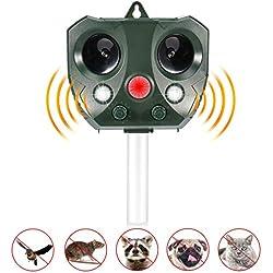 Volador Solaire Repulsif Chat, Répulsif Chat Ultrason, Exterieur Sensibilité et Fréquence Réglable Ultrason Chat pour Repousser Animaux Nuisibles Protecteur de Jardin.