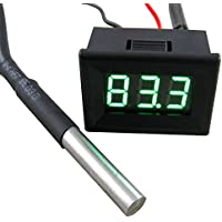 Exing Auto Thermometer,Auto Digital LED Thermometer Voltmeter Auto USB Ladeger/ät Batterie Monitor Temperaturanzeige