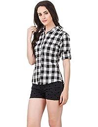 68f6c7bc08a37 Fashion205 Black   White Cotton Checkered Shirt for Women