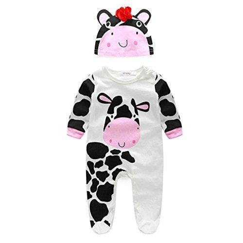Tonsee Baby junge Mädchen Kleidung Tier Spielanzug mit Hut Langarm Overalls Winter Strampler (6-12M, Kuh) -
