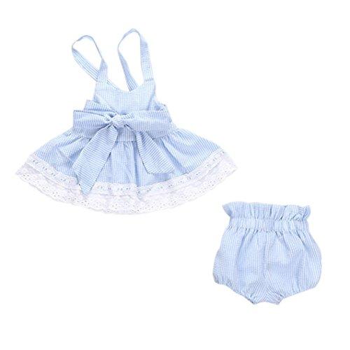 SMARTLADY Niña Bebé Cuello Haltar de Estilo Tops Y Pantalones con cintas de pelo (18-24 meses)