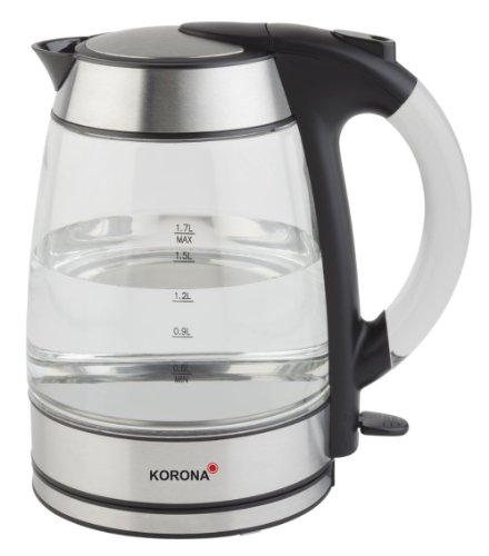 Korona 20600 1,7 Liter Wasserkocher aus Glas und Edelstahl mit LED-Beleuchtung - Ideal zur Zubereitung Ihrer Tasse Tee