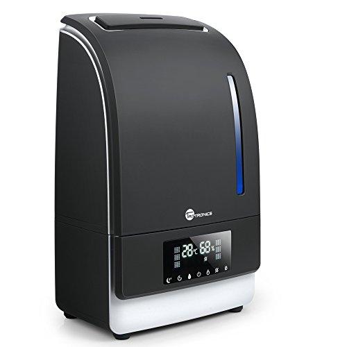 TaoTronics Humidificador Ultrasónico 6L (Vapor Caliente/FRÍO Adjustable, Modo de Sueño, Temporizador, Autopagamiento al Nivel bajo de Agua, Control táctil, Panel LED) 130W, Warm/Cool Mist