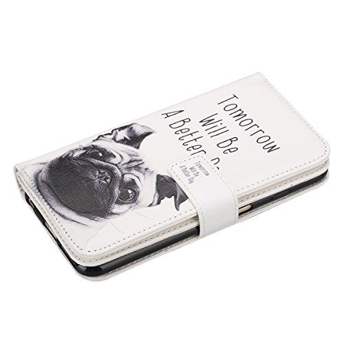 Cover iPhone 6, Custodia iPhone 6S a Libro, Flip Portafoglio Cover in Pelle + Bumper Custodia in Silicone TPU Morbido, Surakey Elegante Full Body Protezione Posteriore iPhone 6 Custodia Wallet in PU L Pug