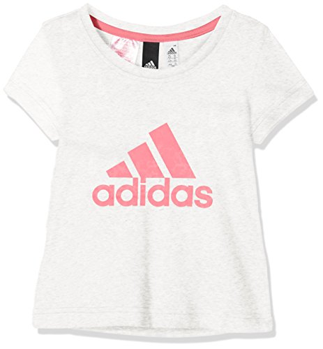 Adidas ragazza essentials performance t-shirt con logo, bambina, essentials performance logo, white melange/chalk pink/real pink, 152