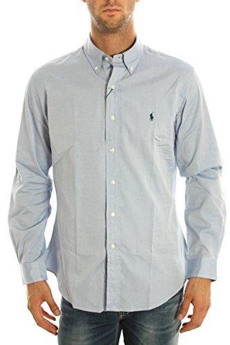 Ralph Lauren camicia da uomo button-down custom fit tinta unita logo A02W3CBPC0040 Celeste