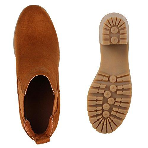 Stiefelparadies Damen Stiefeletten Wildleder-Optik Glitzer Chelsea Boots Animal Prints Profilsohle Knöchelhohe Stiefel Flandell Hellbraun Khaki