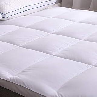 Anfayejia Matratzenauflage für Doppelbett, 100% Baumwolle, mit 4 elastischen Bändern, Baumwolle, Weiß
