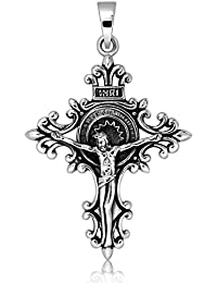 Sistakno - Colgante de plata de ley 925 con crucifijo de Jesús, cristianos, espiral
