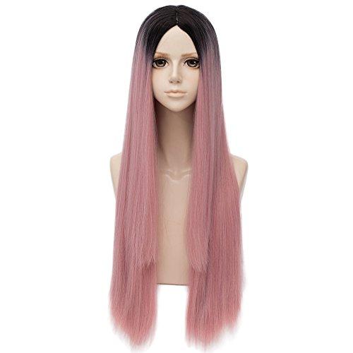 Falamka - Peluca larga, lisa, rosa, con raíces negras para mujer