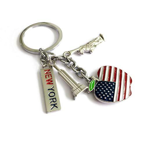 ain Freiheitsstatue Flagge New York Print hängenden Schlüsselring für 4. Juli National Day patriotische Party Souvenir Geschenk ()