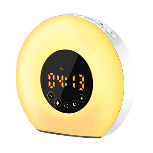 Wake Up Light Sveglia,SAWAKE Radiosveglia con Luce di Sveglia Alba,Night Light Lampada da comodino Acrilico,7 Colori di Luce.Suoni, Controllo Touch, Snooze, Ricaricabile con Cavo USB