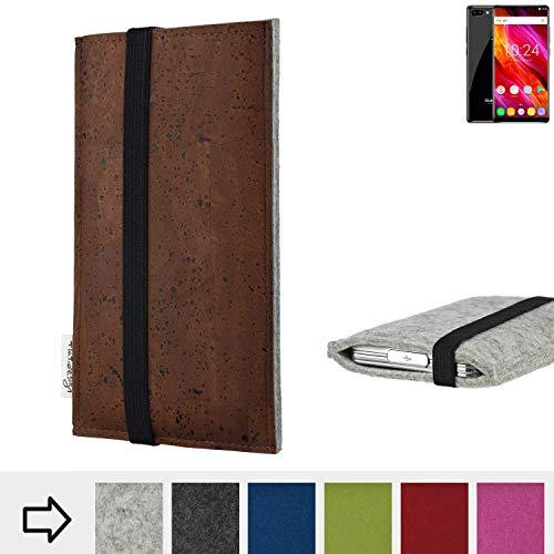für Oukitel MIX 2 Schutzhülle Handy Case SINTRA mit Korkstoff (Braun) und Gummiband-Verschluss (schwarz) - passgenaue Smartphone Tasche Schutz Hülle aus 100% Wollfilz (hellgrau) für Oukitel MIX 2