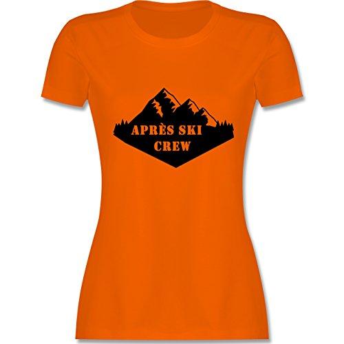 Après Ski - Apres Ski Crew - tailliertes Premium T-Shirt mit Rundhalsausschnitt für Damen Orange