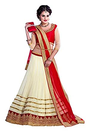 Shree Mira Impex Women's Georgette Traditional Lehenga Choli (Georgette-01_Cream_Free Size)