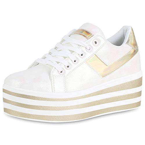 Damen Plateau Sneaker Holo Metallic Freizeit Turnschuhe