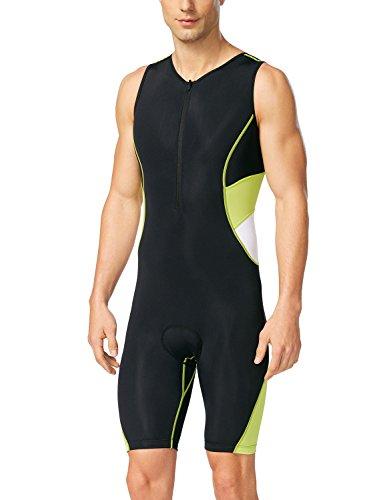 Baleaf Herren Triathlon Tri Race Suit UPF 50+, Herren, Schwarz/Gelb