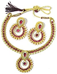 Shree Mauli Creation Pink Alloy Pink Stone Pearl Polki Pendant Necklace Set For Women SMCN324