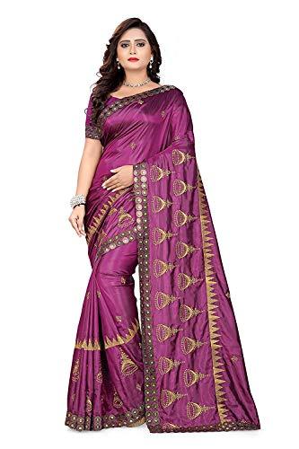 I-Brand Women\'s Paper Silk Saree With Blouse Piece (Purple_FreeSize)