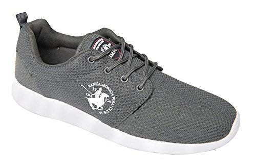 mens-santa-monica-trainers-designer-woven-lace-up-quality-sole-shoes-with-skechers-socks-8-uk-grey
