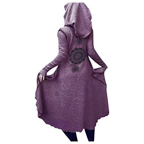TEFIIR Kapuzenmantel Prinzessin Kleid Damen Unregelmäßiger Saum Partykleid Kapuzenjacke Elegant Plus Größe Gedruckt Umhang Winter Warm Pullover Lose Tops