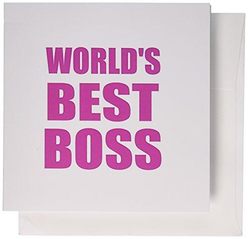 3drose Worlds Best Boss–Hot Pink Text–Tolles Design für die Greatest Boss, Grußkarten, Set von 6(GC _ 194440_ - Einladungen Hot Geburtstag Pink