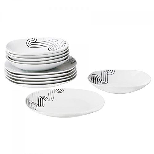 Van Well Tafelservice Costa, 24tlg. für 12 Personen, 12 Speiseteller + 12 tiefe Suppenteller,...