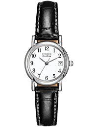 e3cd759040f Citizen Women s Eco-Drive Watch with White Dail Analogue Display and Black  Leather Strap EW1270