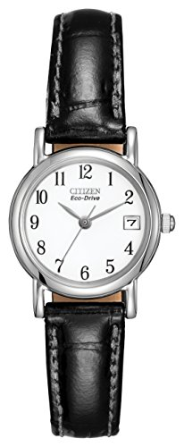 citizen-womens-eco-drive-watch-with-white-dail-analogue-display-and-black-leather-strap-ew1270-06a
