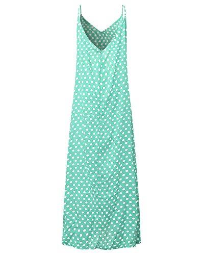 StyleDome Damen V-Ausschnitt Dünne Swing Maxi Oversize Party Strandkleid Grün