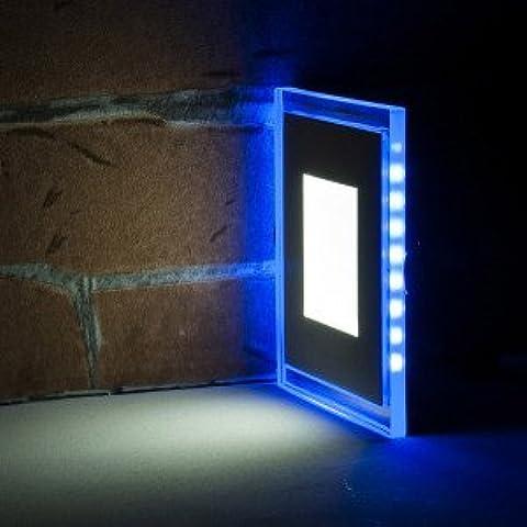 Azul y Blanco LED de techo empotrable de pared de Slim Panel de luz Downlight Cristal Doble Color Azul y Blanco, blanco, 20w