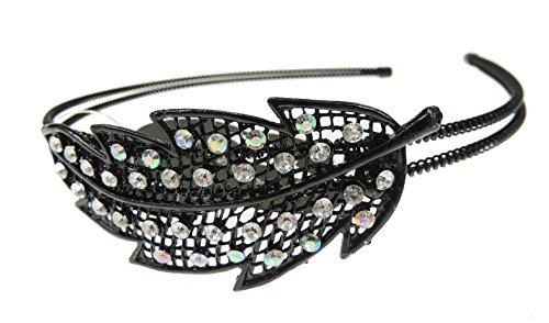 Mesdames filles double fil noir Diamante Feuille bande de tête Alice