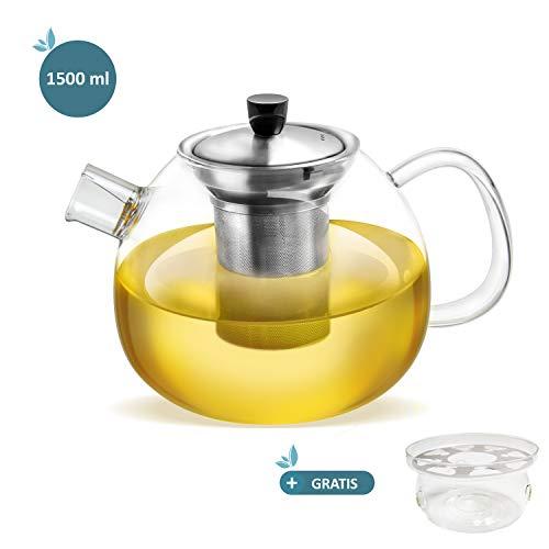smartpeas Teekanne aus Glas - 1500 ml Fassungsvolumen - herausnehmbarer Edelstahlfilter & Ausguss-Filter - hitzebeständiges Borosilikatglas - Plus: Gratis Stövchen zum Warmhalten