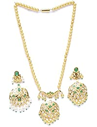 Zevarcraft Alloy Green And Gold Color Necklace Set For Women Ze-010