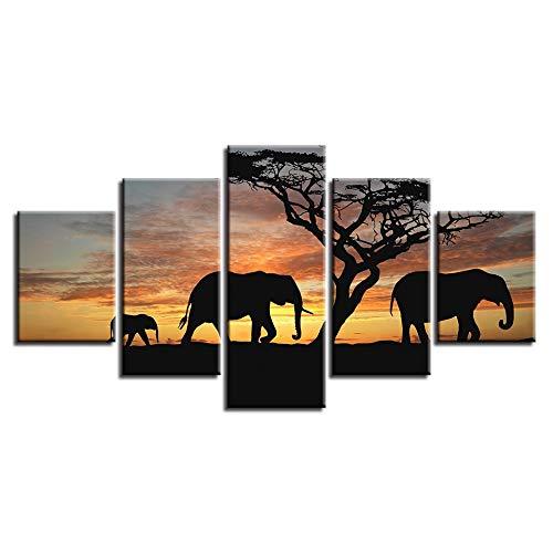 YCOLLC Poster Malerei Auf Leinwand Dekoration Moderne 5 Panel Elefantenbaum Für Wohnzimmer Wandkunst Bilder Hd Gedruckt