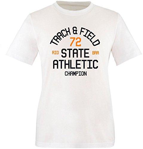 EZYshirt Track & Field Herren Rundhals T-Shirt Weiss/Schwarz/Orange
