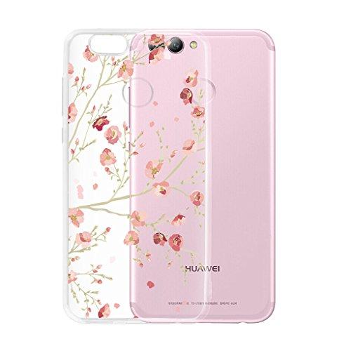 Hülle für Huawei Nova 2 Cover , Wenjie Transparent Rose Pflaume Fleur Silikon Handyhülle Schutzhülle für Huawei Nova 2