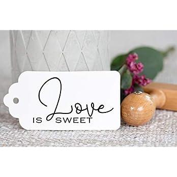 Hochzeitsstempel mit Holzgriff_Love is sweet_Candybar_Süßigkeitentable_Anhänger_DIY_Wedding