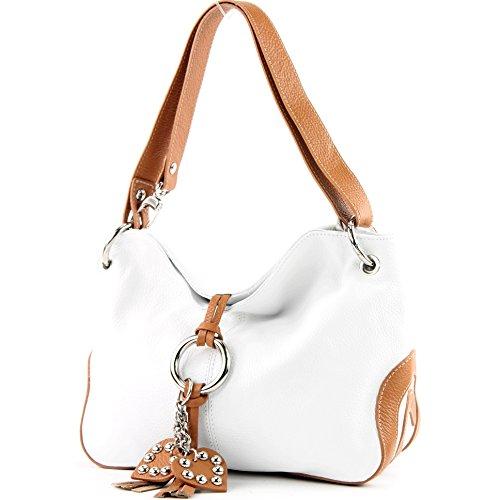 modamoda de - ital. Ledertasche Umhängetasche Crossover Leder Medium Damenhandtasche T10, Präzise Farbe:Weiß/Camel (Italien Leder Schuhe)