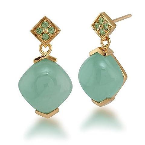 Gemondo Jade Drop Earrings, Gold Plated Sterling Silver 10.00ct Jade & 0.11ct Peridot Earrings