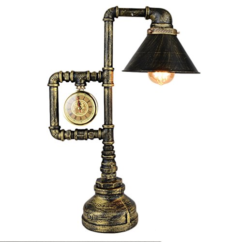 HALORI Industrial Retro Loft Bar Cafe Dekoriert Tischlampe E27 Dampf Punk Schmiedeeisen Wanduhr Dekorative Wasser Rohr Lampe, Öl Sands Bronze Oberfläche Behandlung