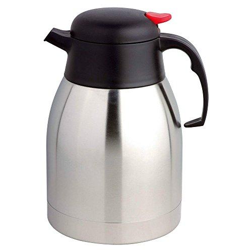 MP Tee Isolierkanne Kaffeekanne/Vacuum Teekanne, 18/10 Edelstahl,1.2 Liter, Quick Tip Verschluss, 100% dicht, Schwarz, Soft Grip