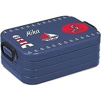 Preisvergleich für Mein Zwergenland Lunchbox Rosti Mepal Maxi Take A Break midi Brotdose Brotbox mit eigenem Namen Nordic Denim Maritim Anker Leuchtturm